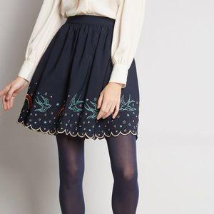 ModCloth Embroidered Skirt